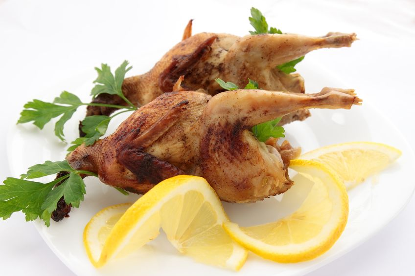 baked quail with lemon and parsley